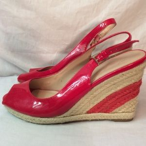 Shoes - MARC FISHER RED WEDGE  HEEL PEEP TOE SANDALS
